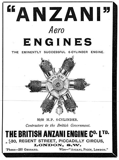 British Anzani 50-60 H.P. 6 Cylinder Aero Engines