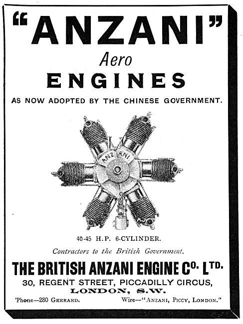 British Anzani 40-45 H.P. 6 Cylinder Aero Engines