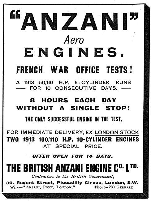 British Anzani 50-60 H.P. 6 Cylinder Aero Engines 1913
