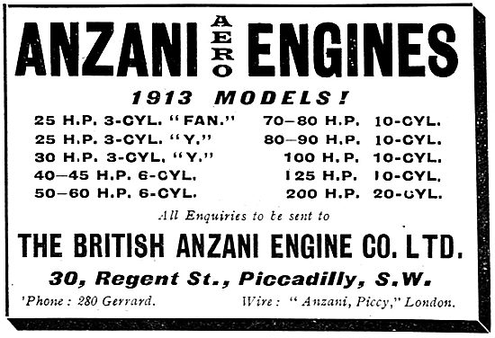 The 1913 British Anzani Aero Engine Product range