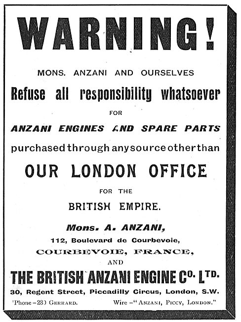 Anzani Refuse Responsibility For Spares Purchased Elsewhere