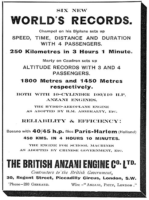 Anzani Aero Engines Hold 6 World's Records.