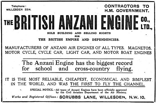 Anzani Aero Engines - Air Ministry Approved