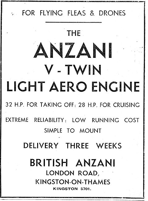 British Anzani 32 HP V-Twin Light Aero Engine: Flying Flea. Pou