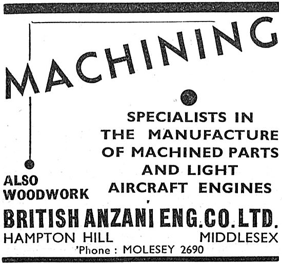 British Anzani Aeronautical Engineering. Machining 1939