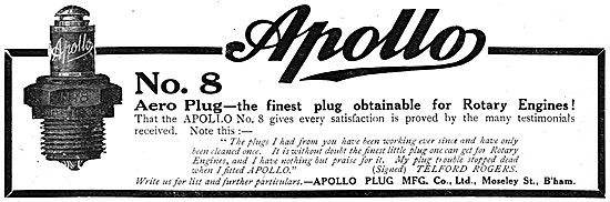 Apollo Sparking Plug. No 8 Aero Plug Suitable For Rotary Engines