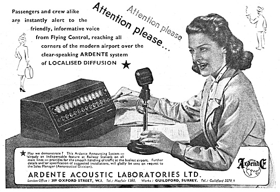 Ardente Acoustic Public Address Systems. 1947 Advert