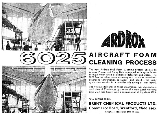 Brent Chemical Products. Ardrox 6025 Aircraft Foam Cleaning