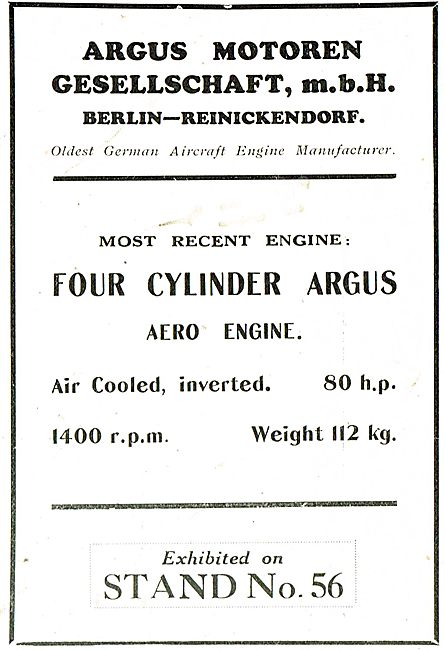 Argus 80 HP 4 Cylinder Inverted, Air Cooled Aero Engine