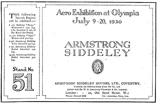 Armstrong Siddeley  Aero Engines At Olympia July 1920