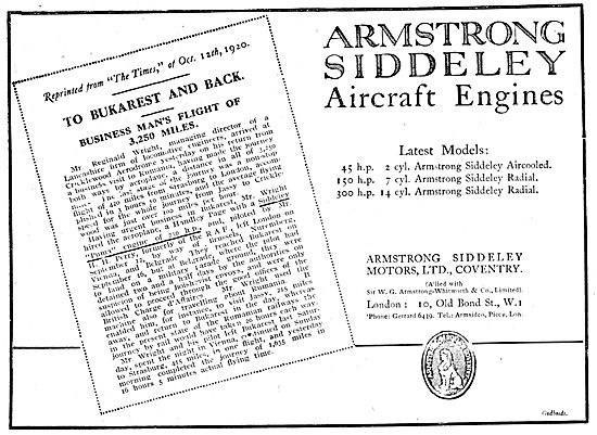 Armstrong Siddeley  Aircraft  Engines 1920