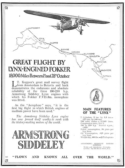 Armstrong Siddeley Lynx  Aero Engine On 18,000 Mile Fokker Flight
