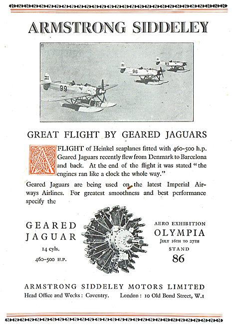 A Great Flight By Geared Jaguar Powered Heinkel Seaplanes