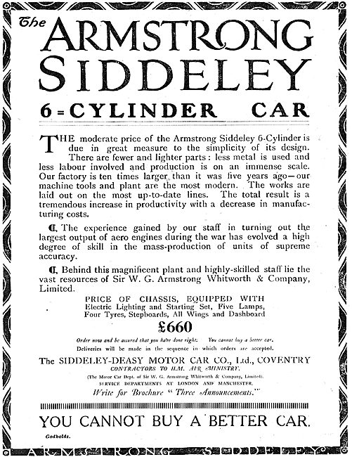 Armstrong Siddeley  6 Cylinder Car