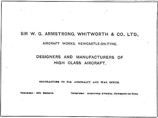 Armstrong Whitworth & Co  Manufacturers Of High Class Aircraft