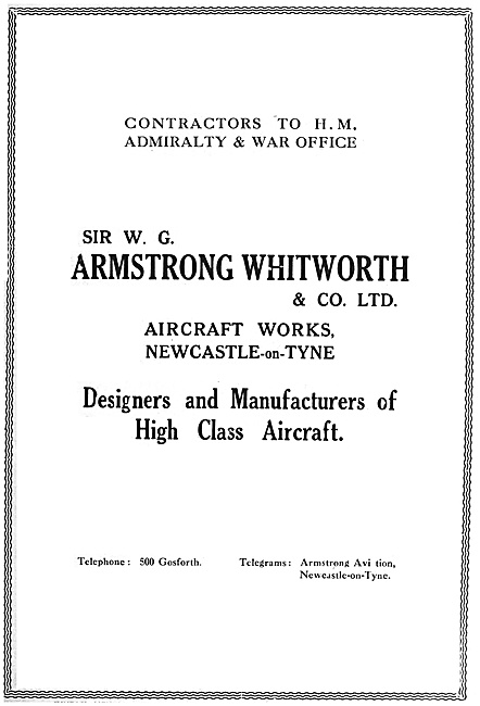 Armstrong Whitworth Aircraft 1916