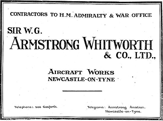 Armstrong Whitworth & Co Aircraft. Newcastle-On-Tyne