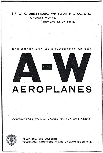 A-W. Designers & Manufacturers Of Aeroplanes