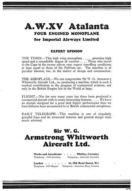 Armstrong Whitworth - AW.XV Atalanta Airliner