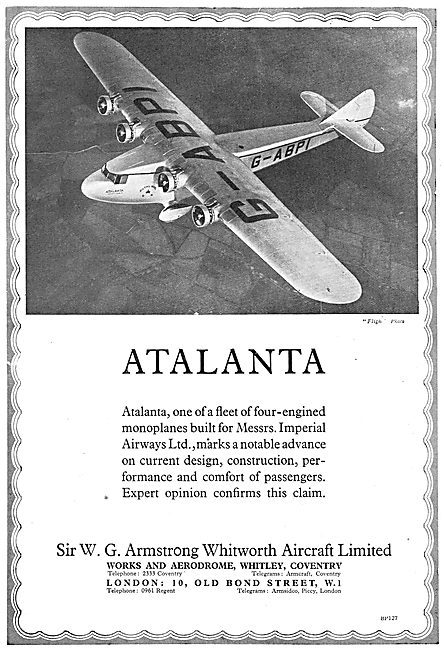 Armstrong Whitworth Atalanta  Airliners For Imperial Airways