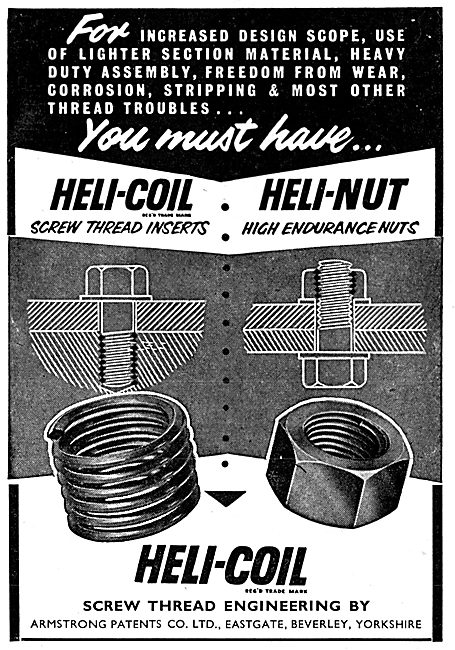 Armstrong Patents Heli-Coil Thread Inserts - Heli-Nut Nuts