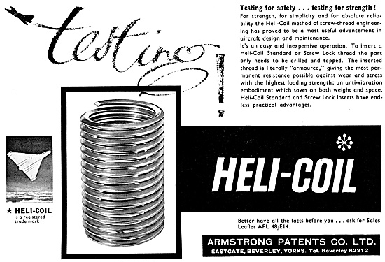Armstrong Patents Helicoil Thread Insrets