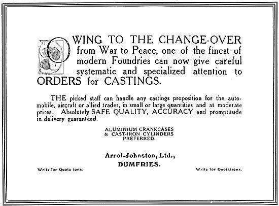 Arrol-Johnston Motor Cars. 1919