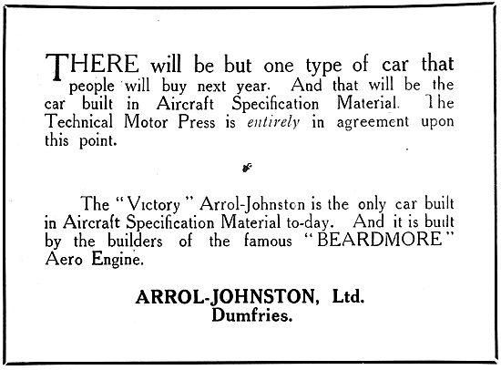 Arrol-Johnston VIctory Motor Car. 1919