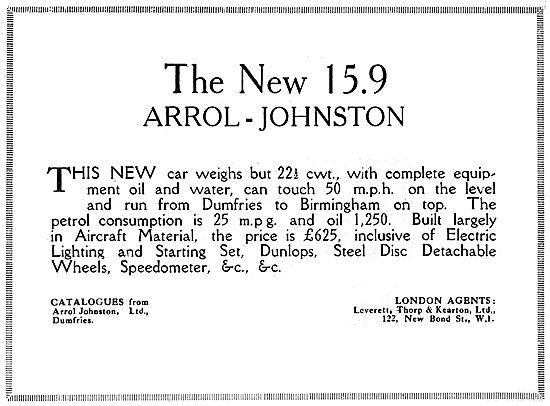 Arrol-Johnston 15.9 Motor Car. 1919