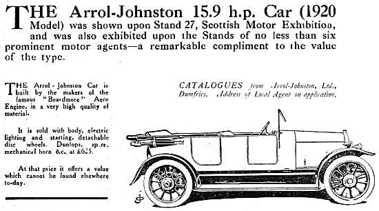 Arrol Johnston Motor Cars. 1920. 15.9 HP