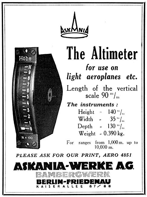 Askania Flight Instruments Altimeter 1929