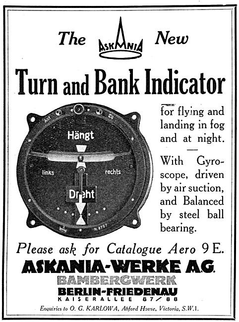 Askania Flight Instruments -  Askania Turn & Bank Indicator