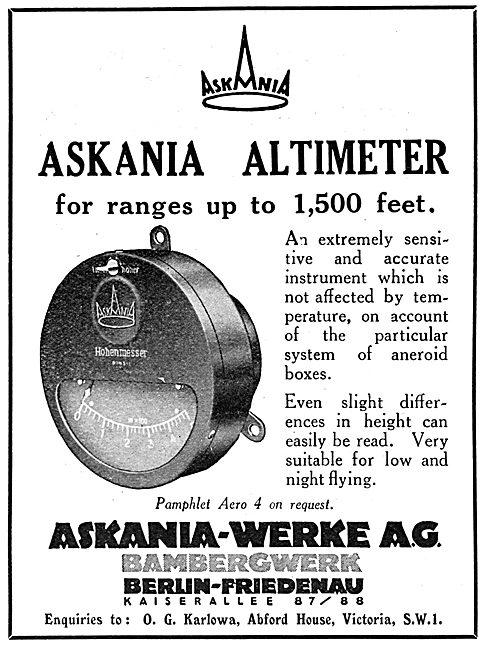 Askania Flight Instruments Askania Altimeter 1930
