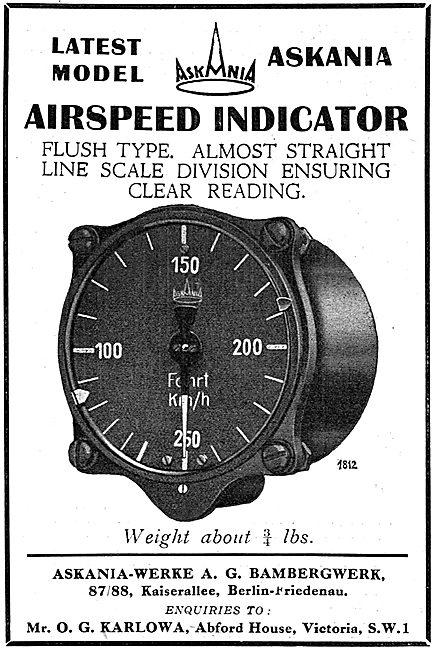 Askania Aircraft Airspeed Indicator