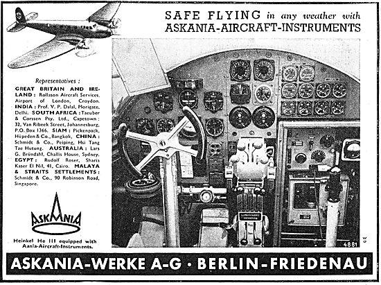 The Heinkel He III Is Equipped With Askania Flight Instruments