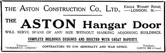 The Aston Construction Company. Hangar Doors 1917 Advert