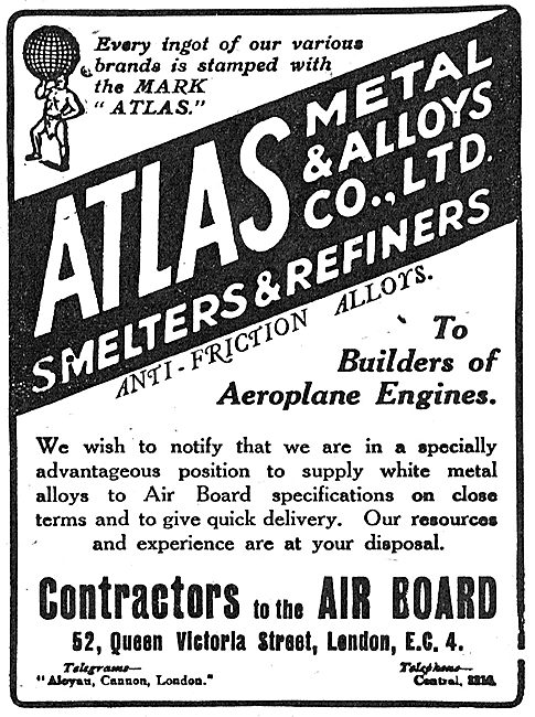 Atlas Metal & Alloys - Smelters & Refiners. 52 Queen Victoria St.