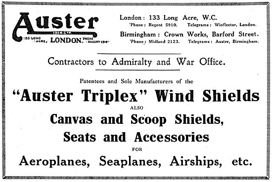 Auster Triplex Wind Shields, Seats & Accessories