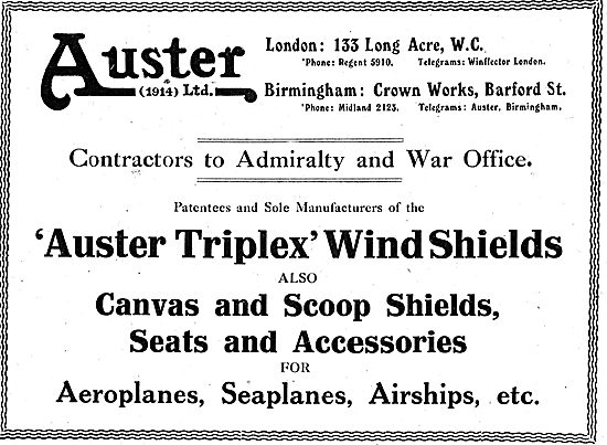 Auster Triplex Aeroplane Windshields, Seats & Accessories