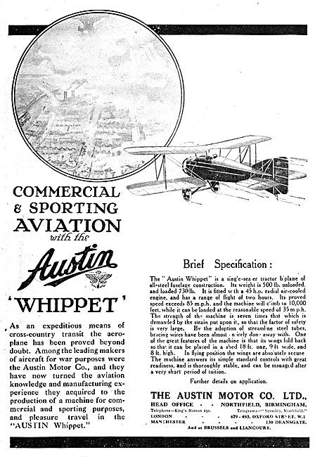 Austin Whippet Biplane 1920 Advert