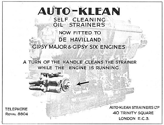 Auto-Klean Self Cleaning Oil Strainers Fitted To DH Aero Engines