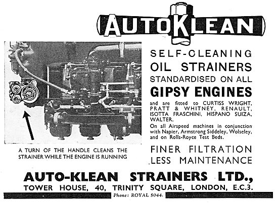 Auto-Klean Self Cleaning Oil Strainers - Gipsy Engines