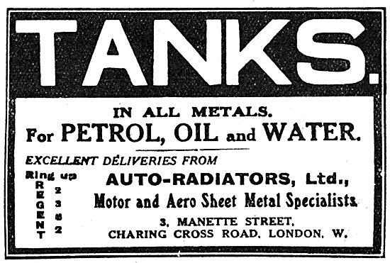 Auto-Radiators Ltd. Aeroplane Petrol, Oil & Water Tanks