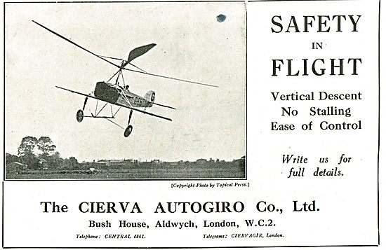 Cierva Autogiro - Safety In Flight - No Stalling Ease Of Control