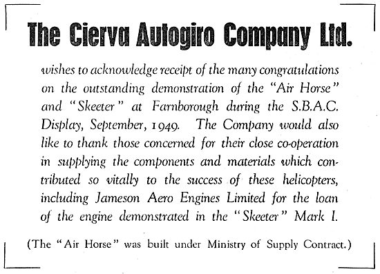 Cierva Autogiro -  SBAC 1949. Skeeter - Air Horse. Jameson Engine