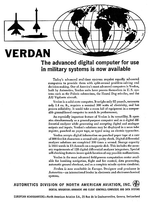 North American - Autonetics Verdan Digital Computer Systems