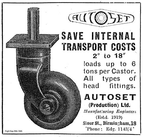 Autoset 2 to 18 Inch Castors For Internal Transport