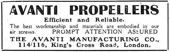 The Avanti Manufacturing Co. Avanti Aeroplane Propellers