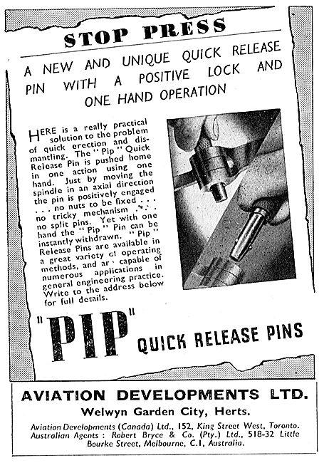 Avdel Aviation Developments PIP Quick Release Pins 1943