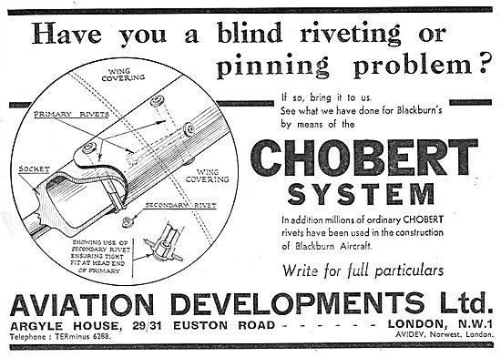 Aviation Developments Chobert Riveting System 1939